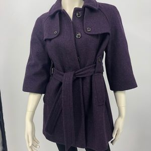 Gap Women's M Purple Wool Pea Coat With Belt EUC